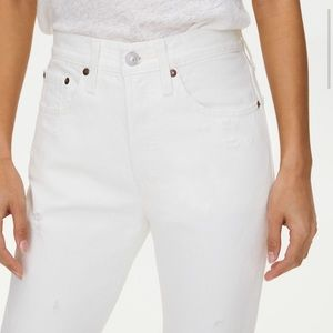 Levi's 501 High Waisted Skinny White Distressed